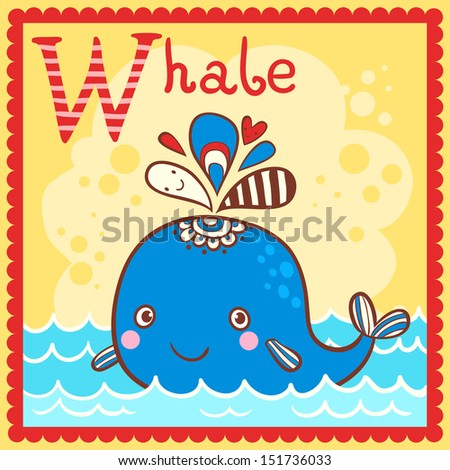Illustrated alphabet letter W and whale.