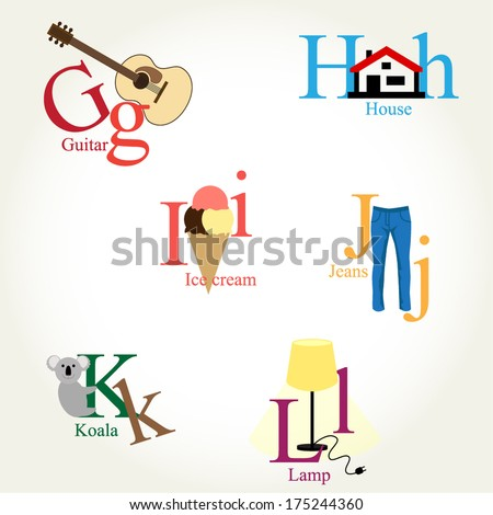 Illustrated Alphabet Letters - objects, animals, food, instruments... Vector EPS10 - stock vector
