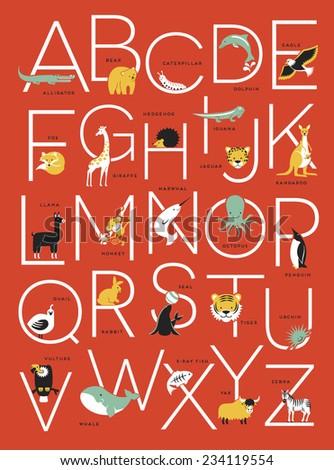 illustrated animal alphabet poster design - stock vector