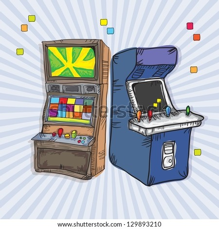 Illustrated  Arcade Game Machines (set for two). On vintage background
