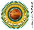 Illustrated basketball colorful emblem with retro elements. Vector illustration. - stock vector