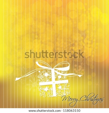 illustrated Christmas gift box. Christmas background. Vector illustration - stock vector