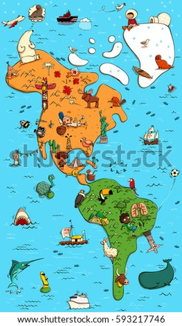 Illustrated colorful map north south america stock vector 593217746 illustrated colorful map of north and south america with funny and typical objects people gumiabroncs Choice Image