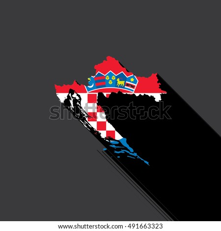 Illustrated Country Shape with the Flag inside of Croatia