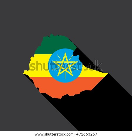 Illustrated Country Shape with the Flag inside of Ethiopia