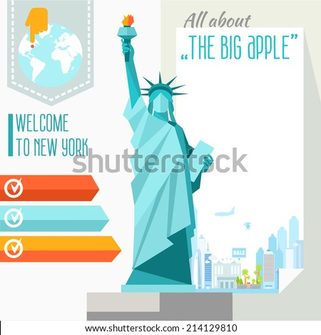 Illustrated design background of NYC and Statue of Liberty. Vector illustration - stock vector