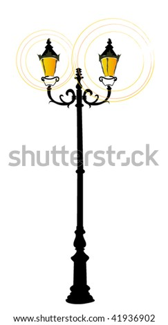 illustrated elegant streetlamp | vector