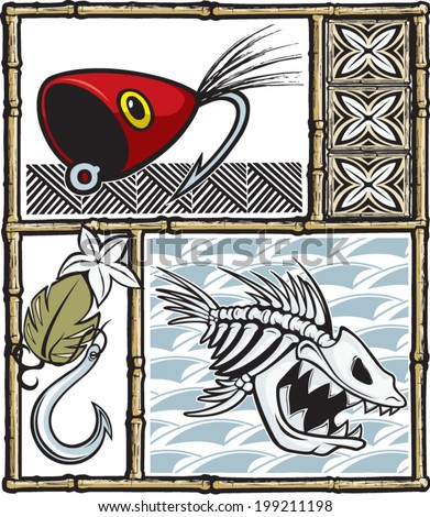 Illustrated fishing items with a Tiki theme. Layered vector file. / Tiki Fishing - stock vector