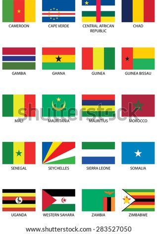 Illustrated Flags from the continent of Africa - stock vector