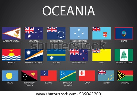 Illustrated Flags from the Continent of Oceania