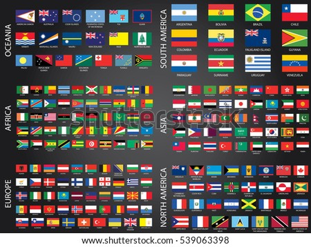 Illustrated Flags from the World organised by Continent