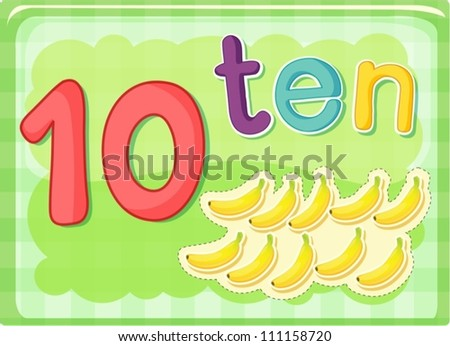 Illustrated flash card showing the number 10 - stock vector