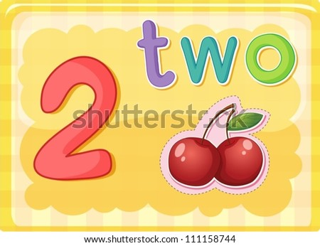 Illustrated flash card showing the number 2 - stock vector