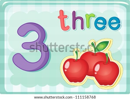 Illustrated flash card showing the number 3 - stock vector