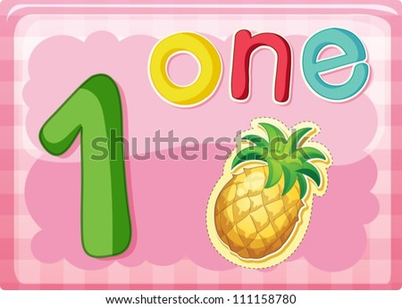 Illustrated flash card showing the number 1 - stock vector