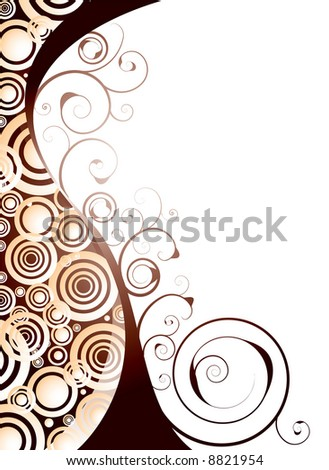 Illustrated floral abstract designed background in orange and red - stock vector