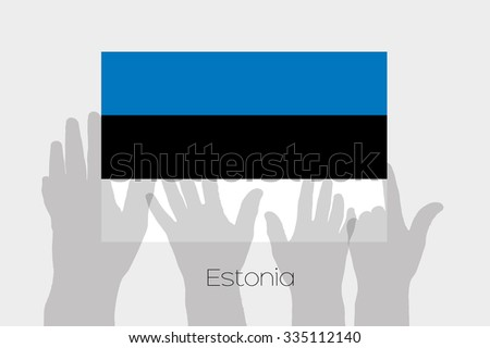 Illustrated Ghost Hands with the Flag of Estonia - stock vector