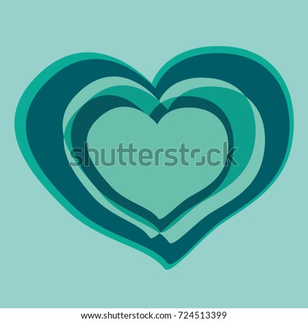 Illustrated Heart Green Blue Color Symbol Stock Vector 2018