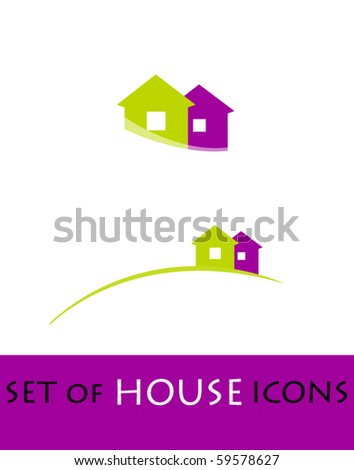 illustrated house icons - stock vector