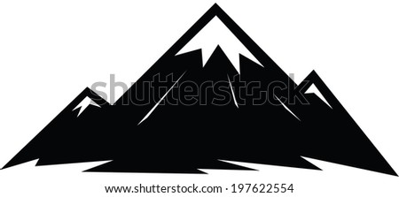Illustrated icon of a sharp peaked mountain. - stock vector