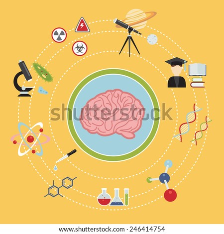 illustrated infographics on science and research, various icons in a flat style - stock vector