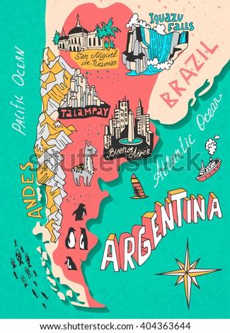 Argentina Stock Images RoyaltyFree Images Vectors Shutterstock - Argentina map tourist