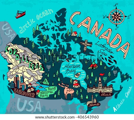 illustrated map of canada travel cartography