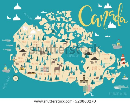 illustrated map of canada travel map vector illustration