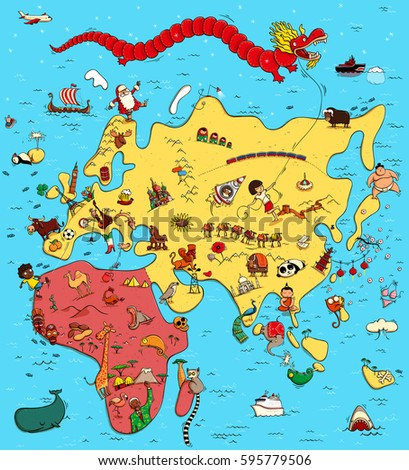 Funny Pictures On All Continents: Illustrated Map Europe ...