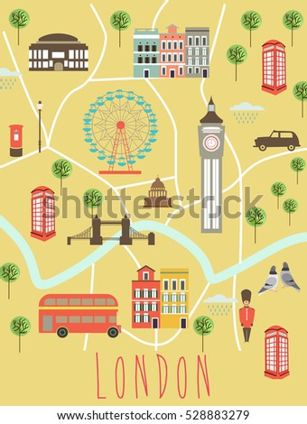 illustrated map of london travel map vector illustration