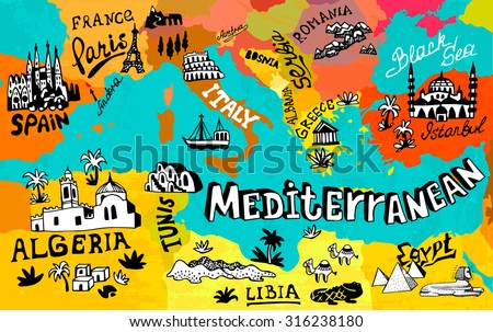 Illustrated map of Mediterranean - stock vector