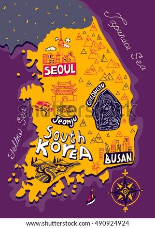 Illustrated map of South Korea