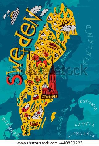 Illustrated Map Sweden Stock Vector Shutterstock - Sweden in map