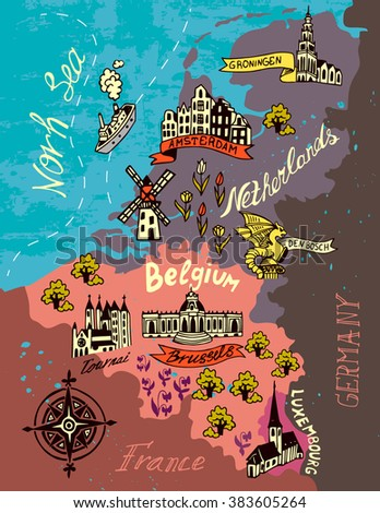 Illustrated map of the Netherlands, Belgium, Luxembourg - stock vector