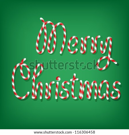 Illustrated merry Christmas candy cane - stock vector
