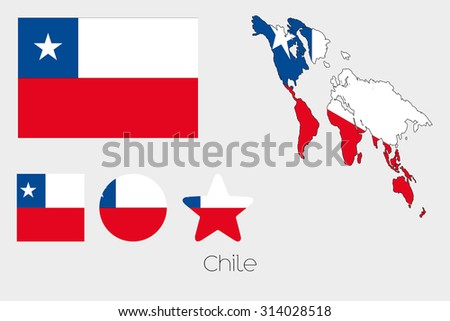 Illustrated Multiple Shapes Set with the Flag of Chile