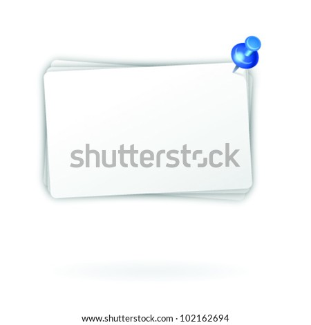 Illustrated note post it sheets white and whit text space, held together by push pin - stock vector