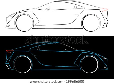 Illustrated Outlines of Sports Car - stock vector