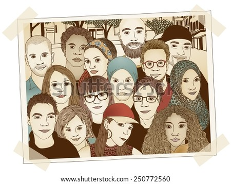 Illustrated photo of a group of young people - each person is drawn individually by hand and digitally colored - stock vector