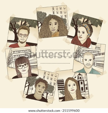 Illustrated photos of various young people - stock vector