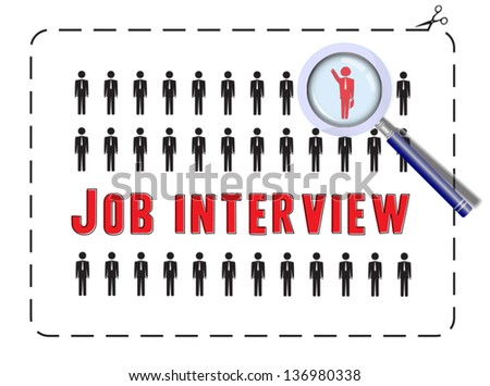 Illustrated poster for a job interview. The concept of competitivness and uniqueness - stock vector