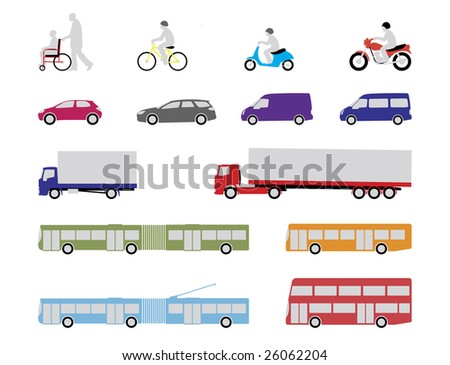 illustrated set of pedestrian, road and public transport vehicles