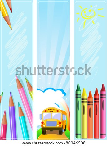 Illustrated set of three different Back  to school banners - stock vector