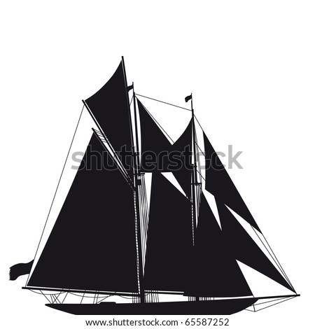Illustrated silhouette of a classical sailing yacht - stock vector