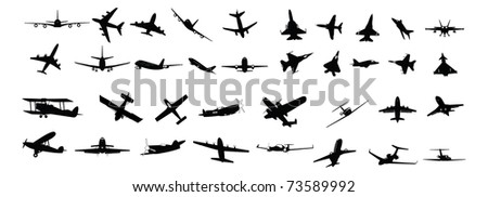 illustrated silhouettes of various types of planes - stock vector