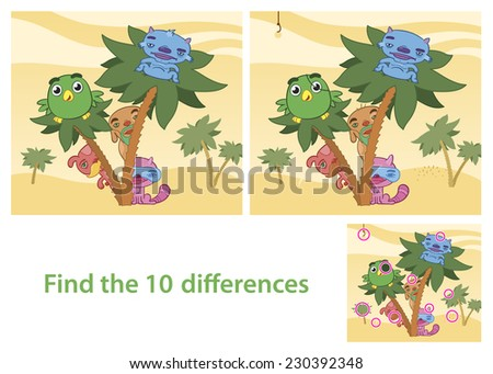 Illustrated Spot the Differences Skill Game with Answer Image Featuring Animals Cartoon Characters - stock vector