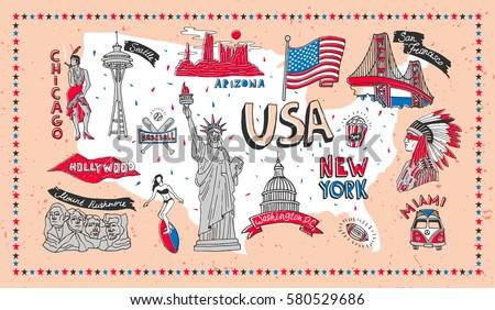 Illustrated Symbol Set Usa Landmarks Vector Stock Photo Photo