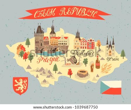Illustrated Tourist Map Czech Republic National Stock Vector HD