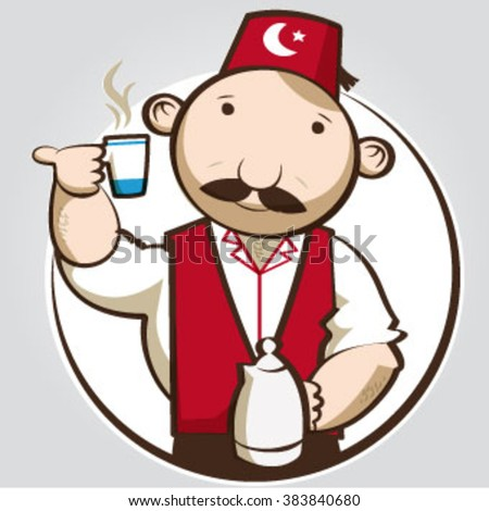 illustrated turkish man with cup.
