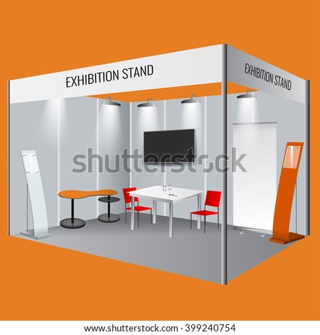 Illustrated Unique Creative Exhibition Stand Display Design With Table And Chair Info Board Roll